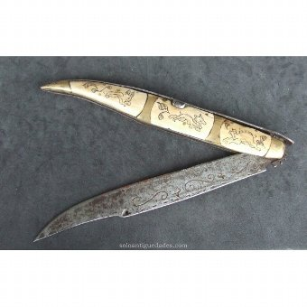 Antique Knife with brass finials