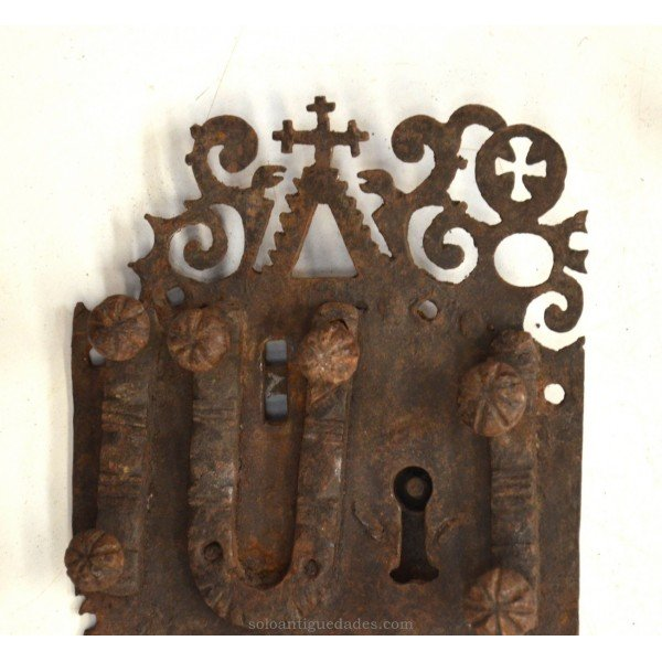 Antique Lock decorated with crosses and scrolls