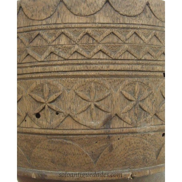 Antique Wooden mortar with geometric
