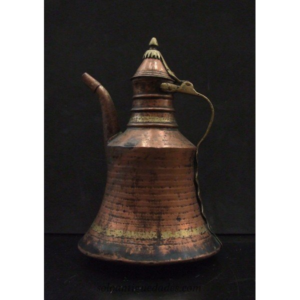 Copper and brass teapot