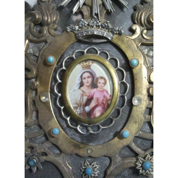 Antique Benditera metal with the Virgin and Child