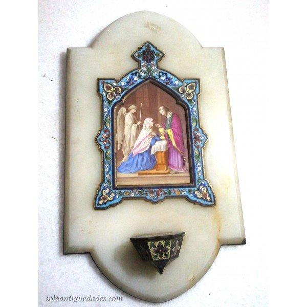 Antique Benditera white marble enameled metal scene