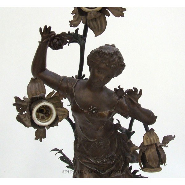 Antique Lamp Art Nouveau female character