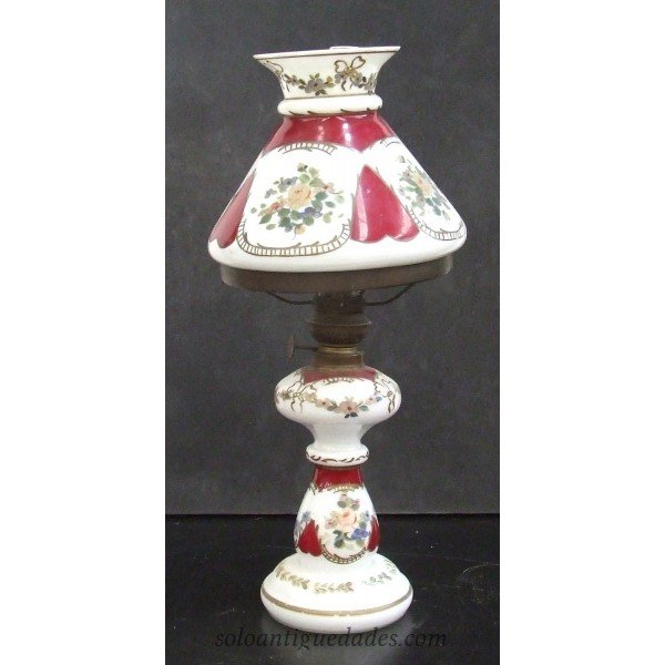 Antique Decorated pottery lamp