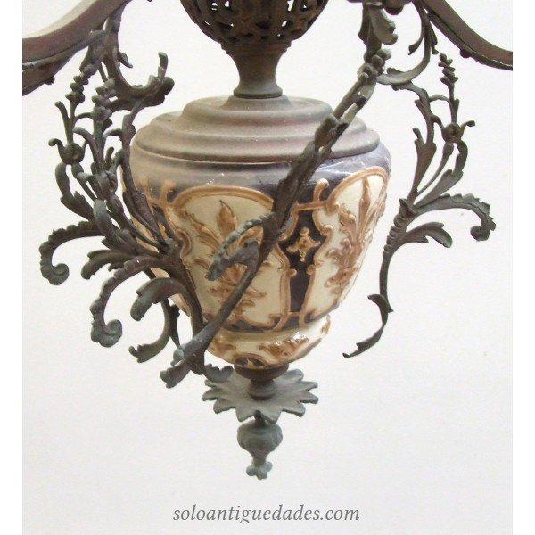 Antique Art Nouveau porcelain lamp decorated