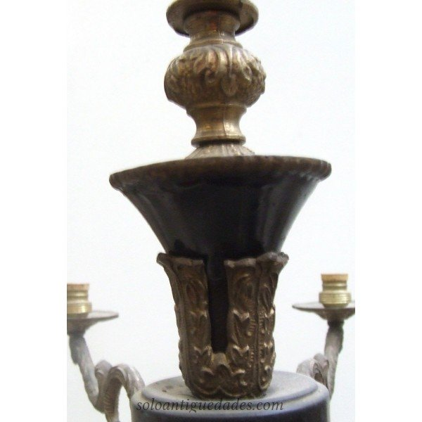 Antique Chandelier lamp decorated with bronze figures