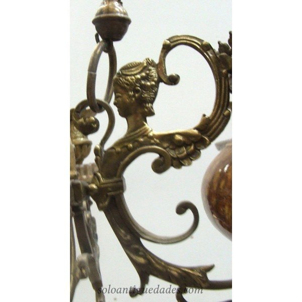 Antique Lamp with ormolu arms and angels
