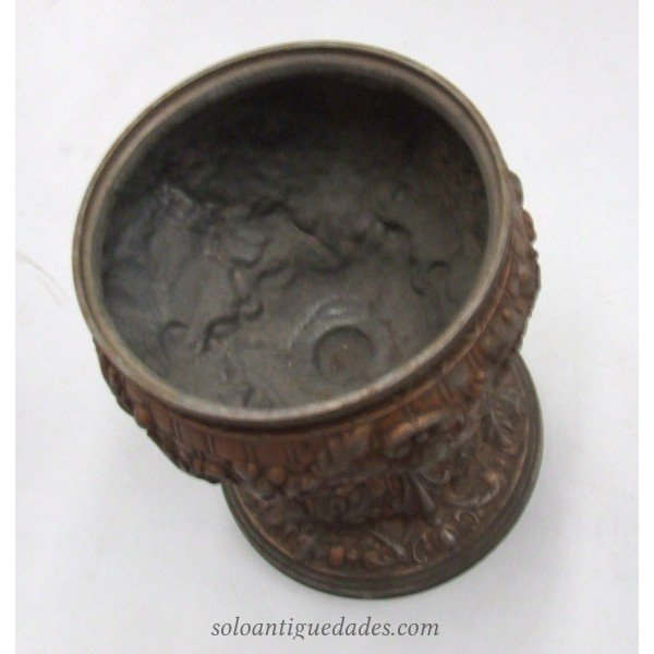 Antique Glass-metal cup decorated in relief