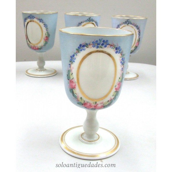 Antique Glass-blue enameled Cups