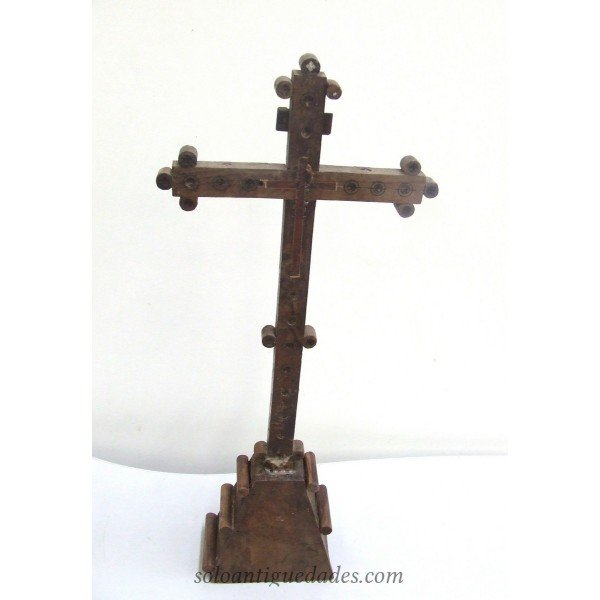 Antique Wooden altar crucifix, pearl and ivory