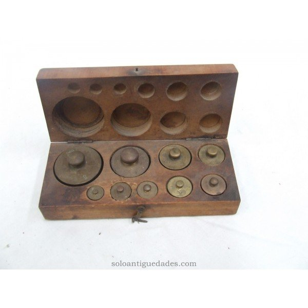 Antique Wooden box with set of nine weights