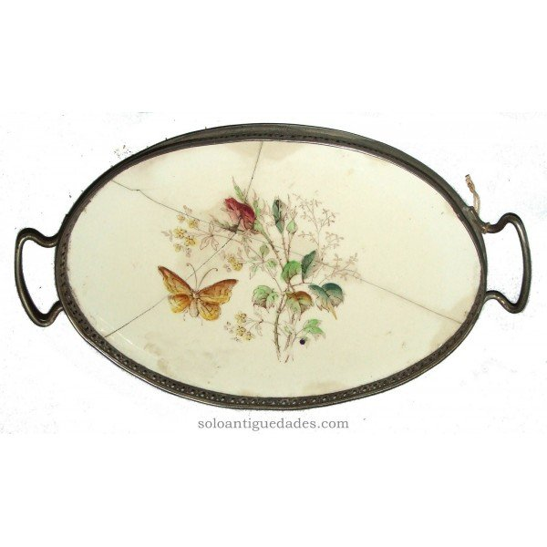 Antique Tray with drawing butterfly