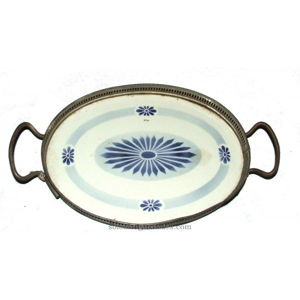 Antique Tray with geometric patterns in blue
