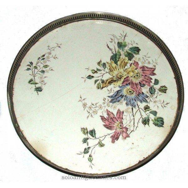 Antique Circular tray with plant