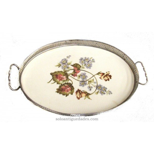 Antique Porcelain tray with handles turned