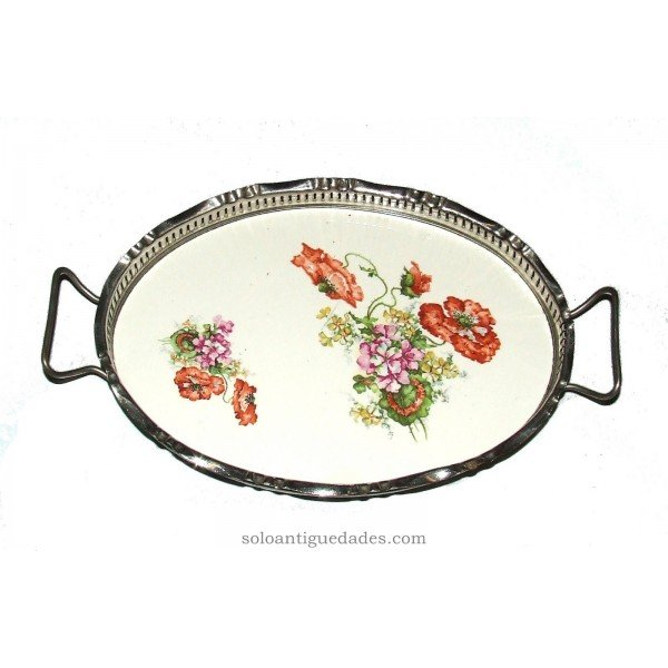 Antique Oval tray with plant