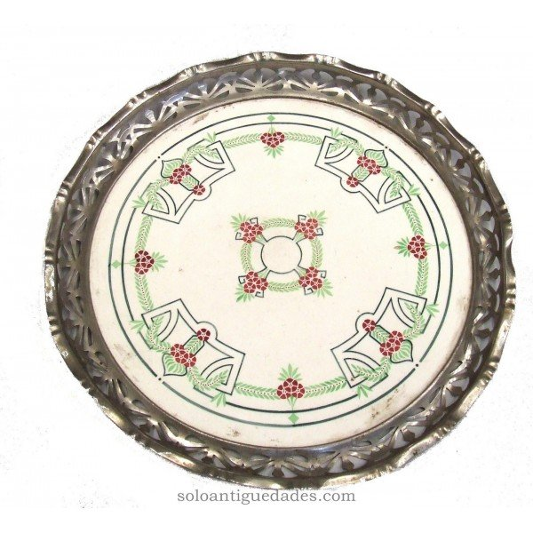 Antique Round tray with geometric and plant