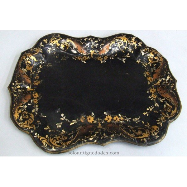 Antique Metal tray painted black