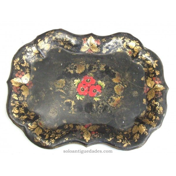Antique Metal tray with red flowers