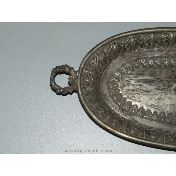 Antique Tray with handles shaped laurel wreath