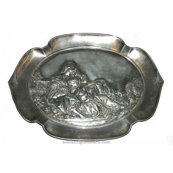 Antique Silver tray with relief figures