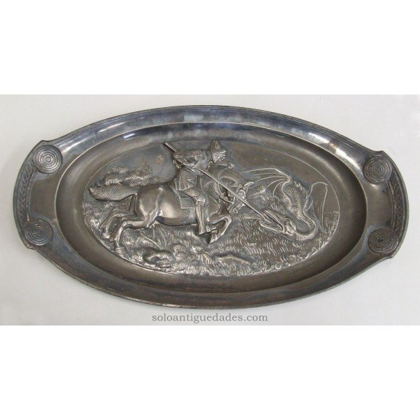 Antique Metal tray. St. George and the Dragon