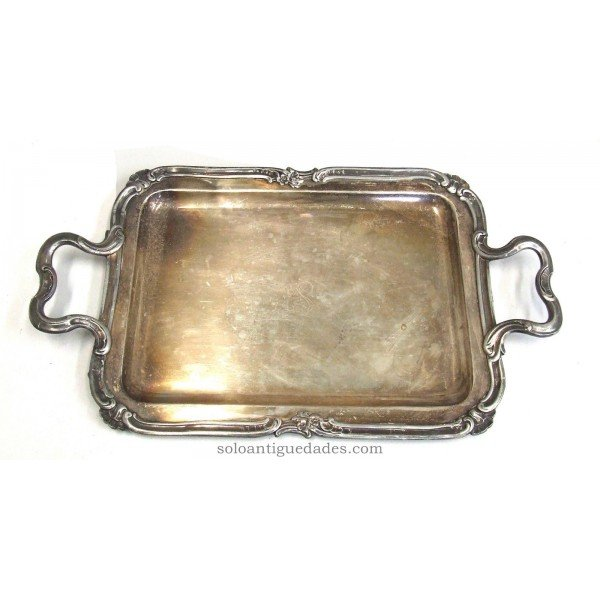 Antique Silver tray with inscription IS