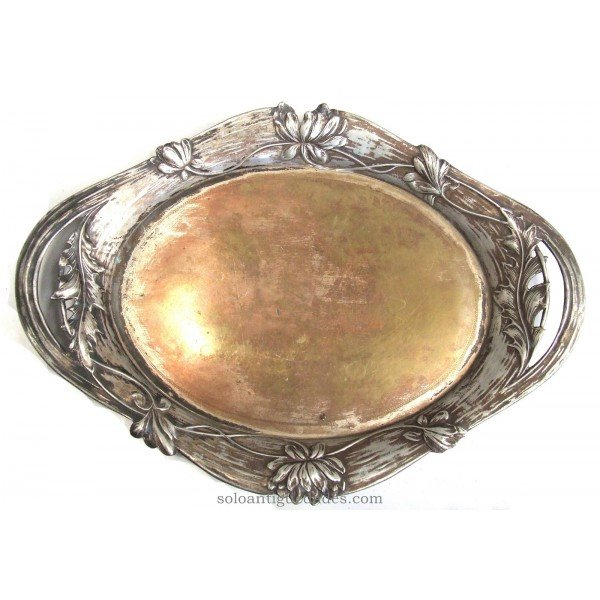 Antique Silver tray with side handles