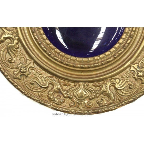 Antique Brass tray with embossed dragons