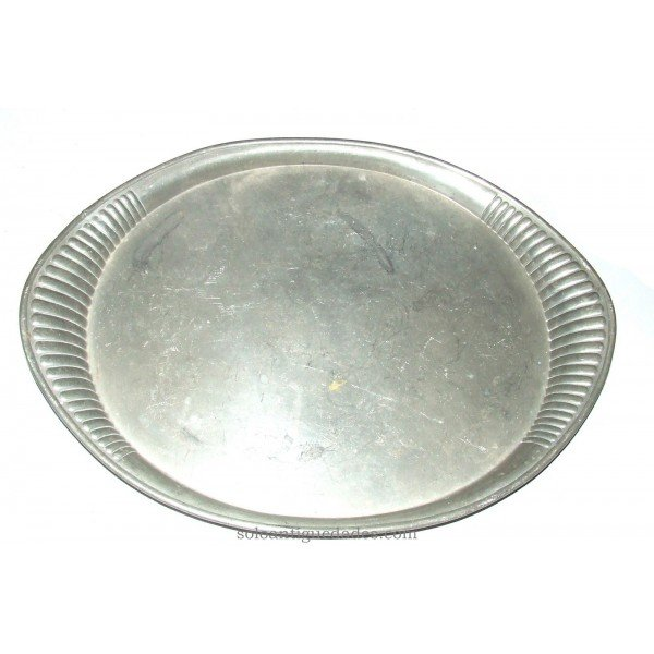 Antique Silver tray with handles lobed