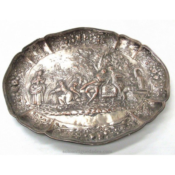 Antique Brass tray with country scene