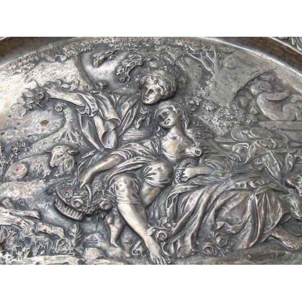 Antique Brass tray with gallant scene