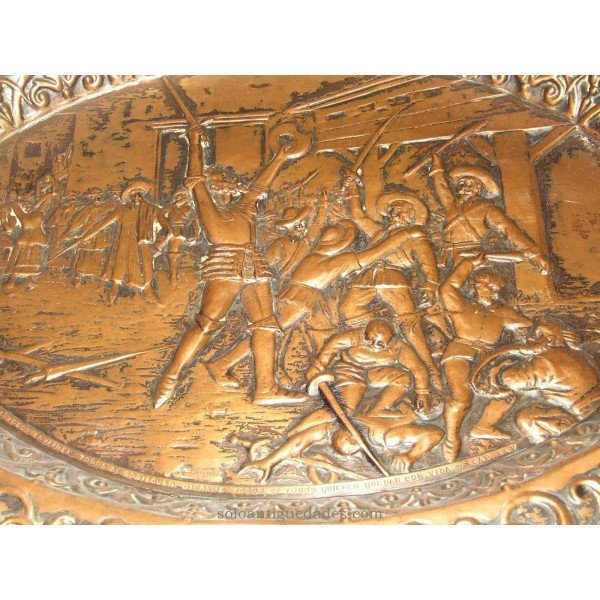 Antique Tin tray. Battle of Don Quixote
