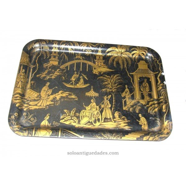 Antique Tray with Oriental scenes