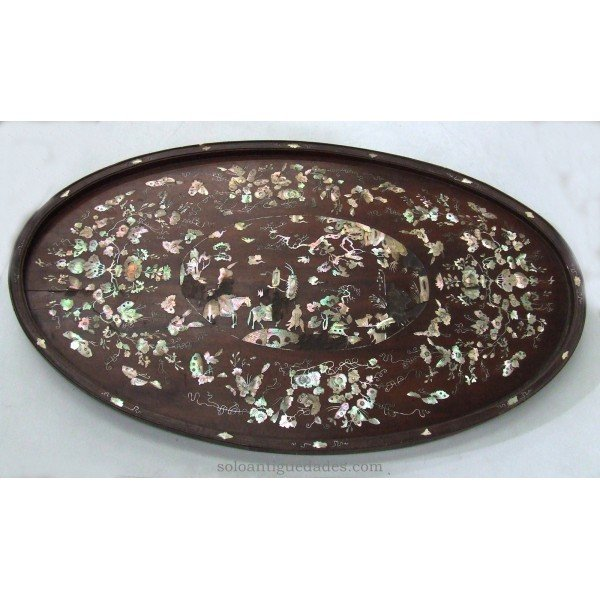 Antique Wooden tray inlaid mother of pearl