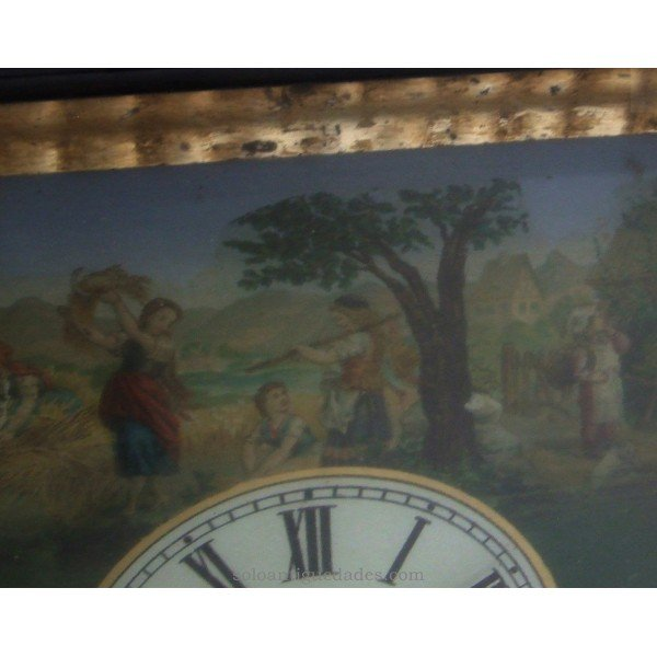 Antique Black Forest Clock type. Agricultural landscape
