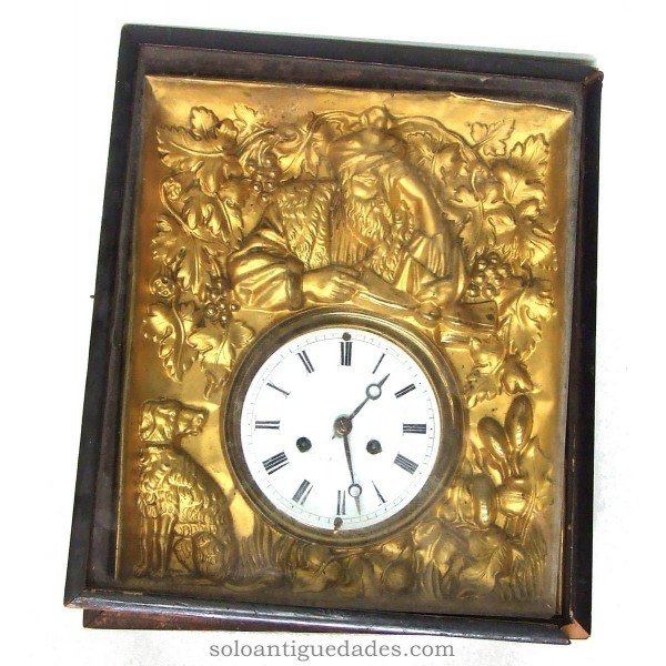 Antique Black Forest Clock type. Cover stamped brass