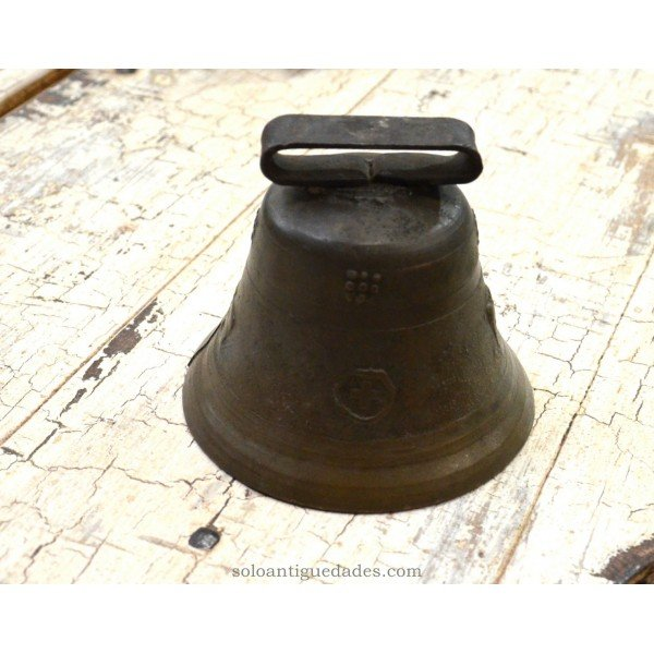 Antique Bell decorated with reliefs (cross and cow)