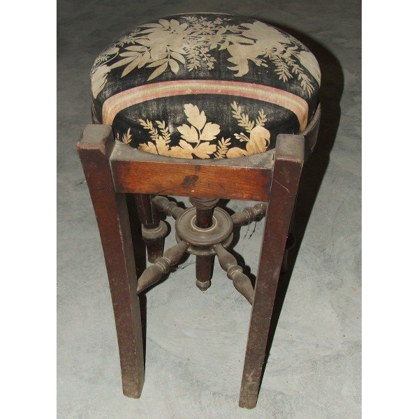 Antique Old stool with floral upholstery