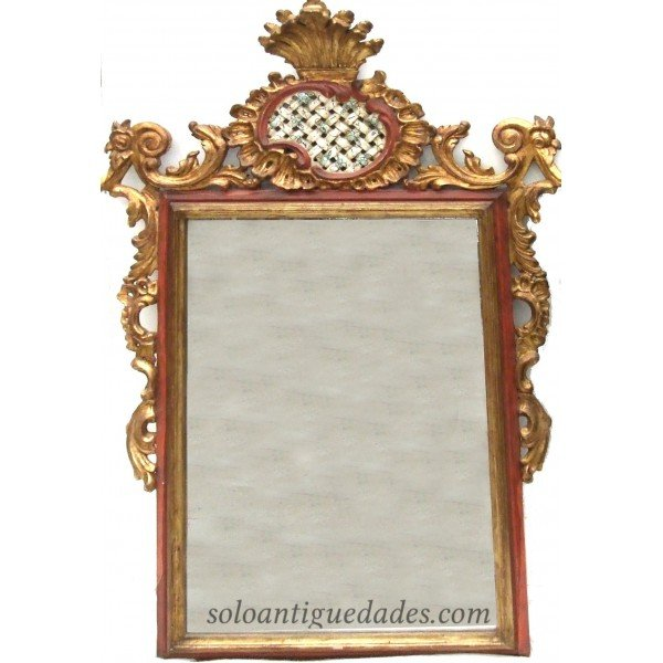 Neoclassical mirror large polychrome gilded crest