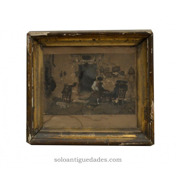 "Antique Photogravure ""The store of Figaro"""