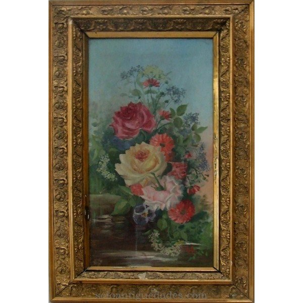 Antique Still life with roses made in oil on canvas