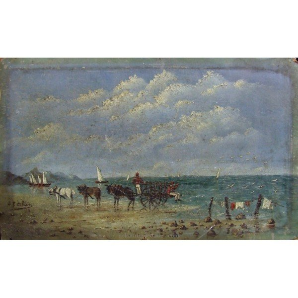 Antique Oil on cardboard with beach scenery