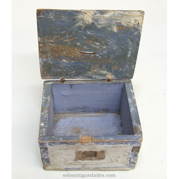 Antique Wooden alms box polychrome