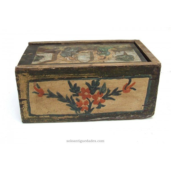 Antique Collection box with scene of the Holy Family