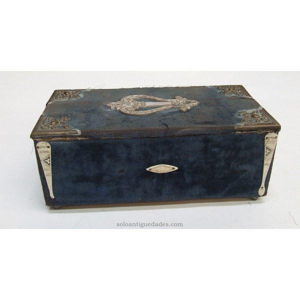 Antique Wooden box lined with blue fabric