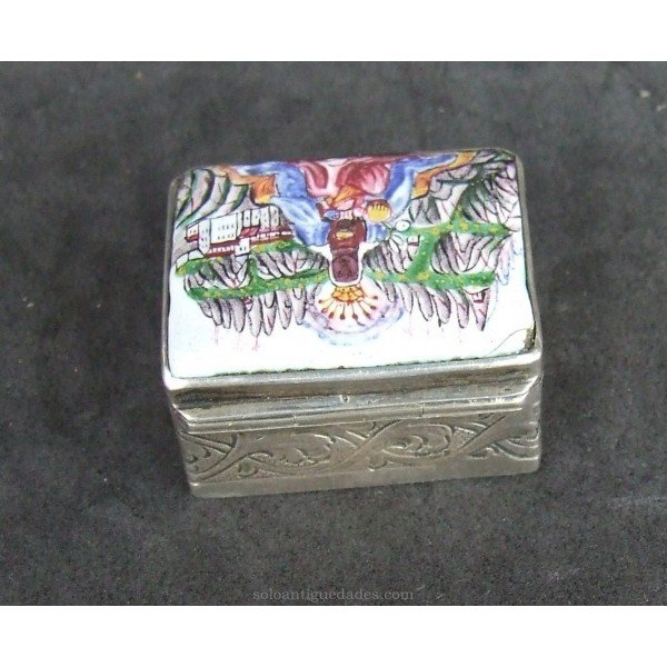 Antique Silver collection box and glazed ceramic