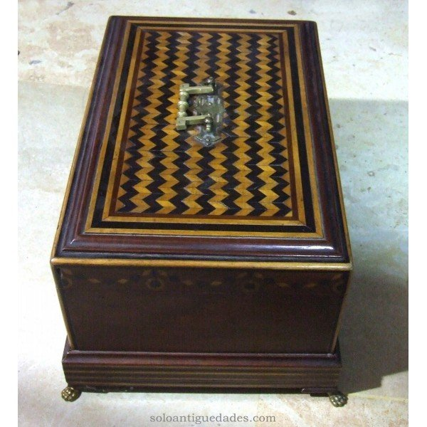 Antique Collection box with hatching and geometric decoration
