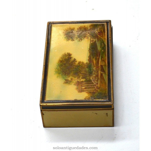 Antique Bakelite box with landscape