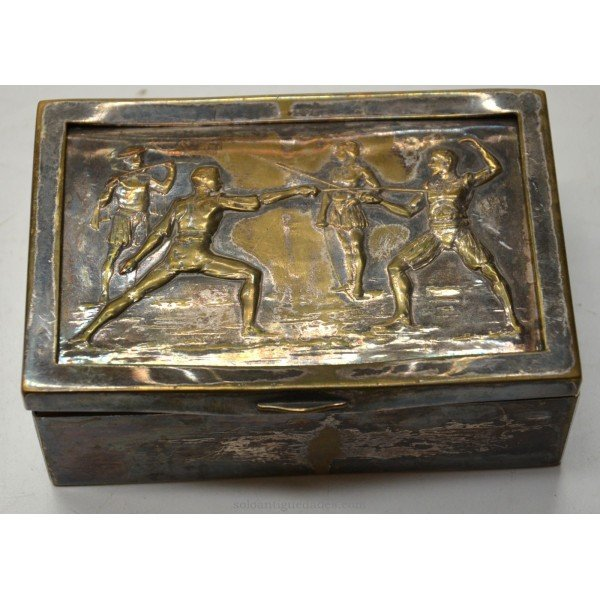 Antique Bronze Box with fencing scene